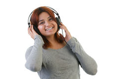 Indian woman with headphone Royalty Free Stock Photography