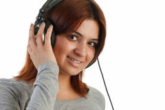 Indian woman with headphone Stock Photo