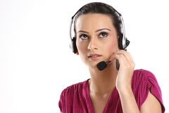Indian woman with headphones Stock Photos