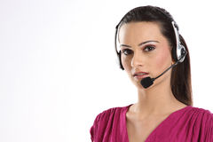 Indian woman with headphones Royalty Free Stock Photo