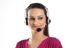Indian woman with headphones Royalty Free Stock Images
