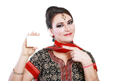 Indian woman hold card Stock Images