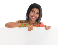 Indian woman holding blank placard Stock Photography