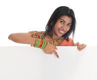 Indian woman holding blank white card Stock Photos