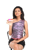 Indian   Woman holding the credit card Royalty Free Stock Photo
