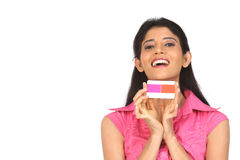 Indian   Woman holding the credit card Stock Photography