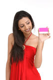 Indian   Woman holding the credit card Stock Images