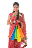 Indian woman holding shopping bags Royalty Free Stock Photography
