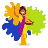 Indian woman on holi festival vector illustration Royalty Free Stock Photos