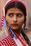 Indian Woman. JAIPUR, INDIA, MARCH 4: An unidentified woman outside the City Palace on March 4, 2012 ahead of the annual Holi Festival in Jaipur, Rajasthan Stock Photo