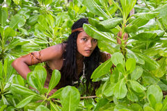 Indian woman in the jungle Stock Photo