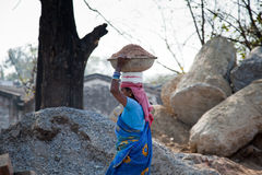 Indian Woman labor at worker Royalty Free Stock Photo