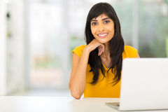 Indian woman laptop Stock Photos