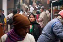 Free Indian Woman Looking For Someone In The Crowd Stock Photography - 30723812