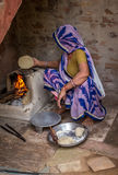 Indian Woman Making Bread Royalty Free Stock Photos
