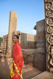 Indian woman in Mamallapuram Temple Royalty Free Stock Image