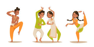 Indian woman man dancing vector isolated dancers silhouette icons people India dance show party movie, cinema cartoon Stock Photos