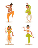 Indian woman man dancing vector isolated dancers silhouette icons people India dance show party movie, cinema cartoon Royalty Free Stock Image