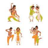 Indian woman man dancing vector isolated dancers silhouette icons people India dance show party movie, cinema cartoon Stock Image