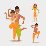 Indian woman man dancing vector isolated dancers silhouette icons people India dance show party movie, cinema cartoon Royalty Free Stock Images