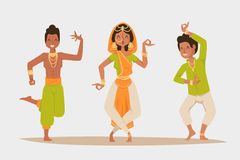Indian woman man dancing vector isolated dancers silhouette icons  Stock Image