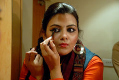 Indian Woman. May 04,2013 Kolkata,West Bengal,India,Asia-Indian drama actress  making up in a green room Royalty Free Stock Photos