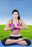 Indian woman meditating in nature Royalty Free Stock Photography