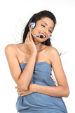 Indian woman with microphone Stock Images