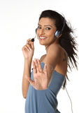 Indian woman with microphone Royalty Free Stock Photo