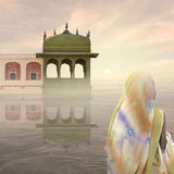 Indian woman in the mist. Indian woman with yellow saree in the mist Stock Images
