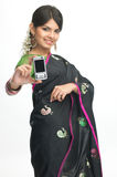 Indian woman with the mobile Royalty Free Stock Image