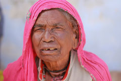 Indian Woman. NIMAJ BAGH, INDIA, FEBRUARY 28: An unidentified woman inside the village of Nimaj Bagh, Rajasthan, Northern India on FEBRUARY 28, 2012. The village Stock Photography