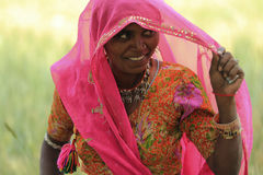 Indian Woman. NIMAJ BAGH, INDIA, FEBRUARY 28: An unidentified woman inside the village of Nimaj Bagh, Rajasthan, Northern India on FEBRUARY 28, 2012. The village Stock Images