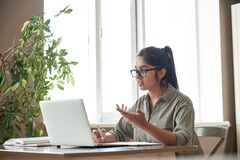 Free Indian Woman Online Tutor Teacher Explaining Online Class Zoom Video Call. Stock Images - 191073244