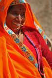 Indian woman with an orange vivid veil Stock Photography