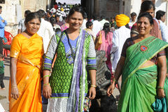 Indian woman outside of a temple at Hampi Stock Image