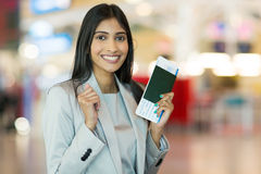 Indian woman passport Royalty Free Stock Images