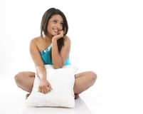 Indian woman with pillow Royalty Free Stock Photography