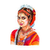Indian woman portrait watercolor illustration Stock Image