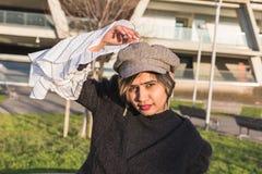 Indian woman posing in an urban context Stock Photos