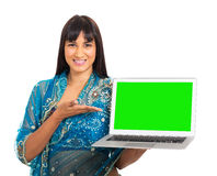 Indian woman presenting Royalty Free Stock Photography