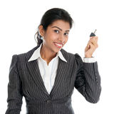 Indian woman with property key royalty free stock photography