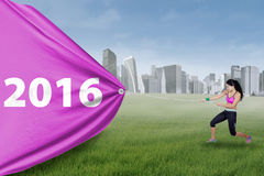 Indian woman pulls numbers 2016 at field Stock Image