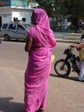 Indian woman in purple sari Stock Photo