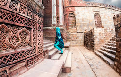 Indian woman in Qutub Minar complex Royalty Free Stock Photos