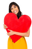 Indian woman red heart Stock Photos