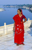 Indian woman at the river Yamuni at the Taj Mahal Stock Image