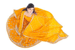 Indian woman in sari. Overhead view of Indian woman in traditional clothing sari stock photo