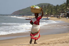 The Indian woman in a sari bears fruit on the head on a beach. India Goa Royalty Free Stock Photo