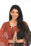 Indian Woman in sari with greetings action Stock Photography